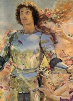 Georges Antoine Rochegrosse : The Knight of the Flowers detail